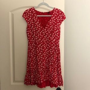 J.Crew red floral wrap dress